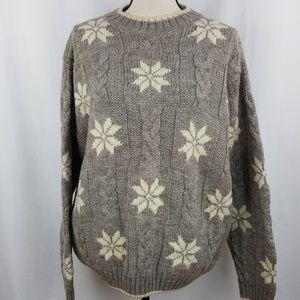 Lands End Sweater Brown Cream Wool Snowflake Crew